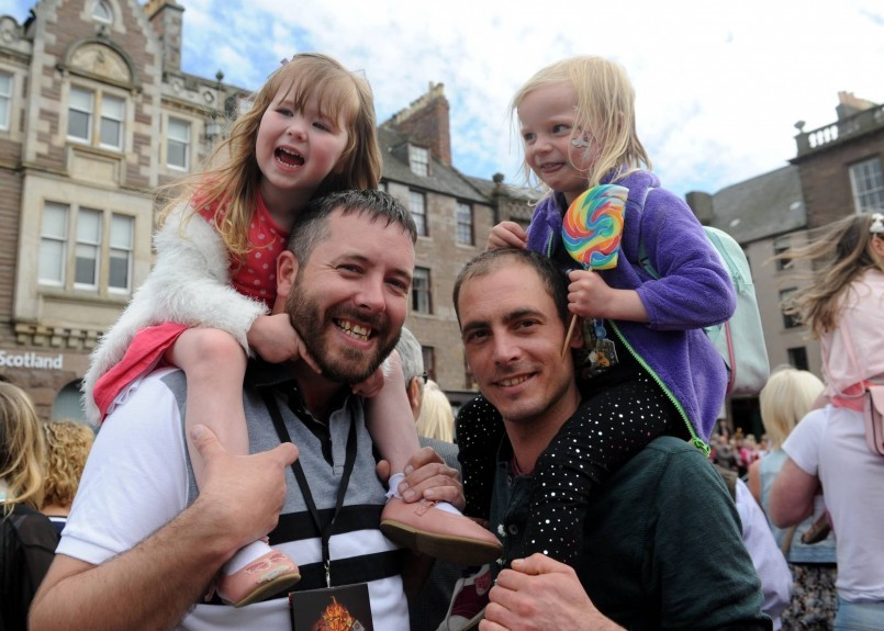 From left: Marley with James Dickson and Skye Boag with Craig Evans.