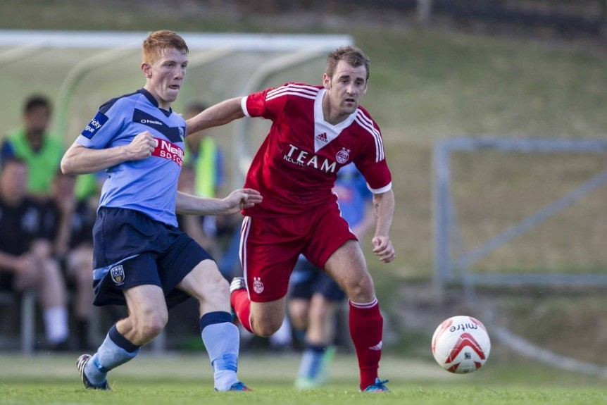 Niall McGinn and Ryan McLoughlin in Aberdeen's pre-season friendly with UCD in 2013.
