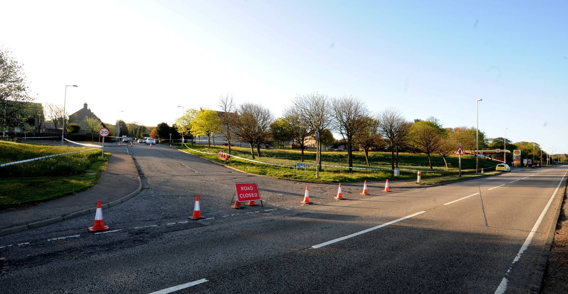 Pictured is the police cordon on Nigg Way, Kincorth.