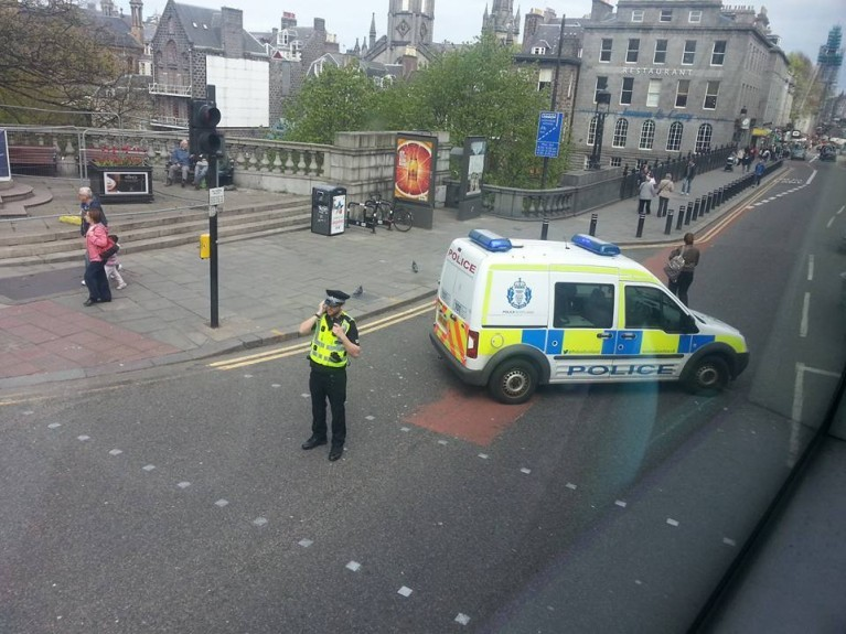 Police blocking Union Street from Union Terrace Junction. Picture by Vera Muzikova.