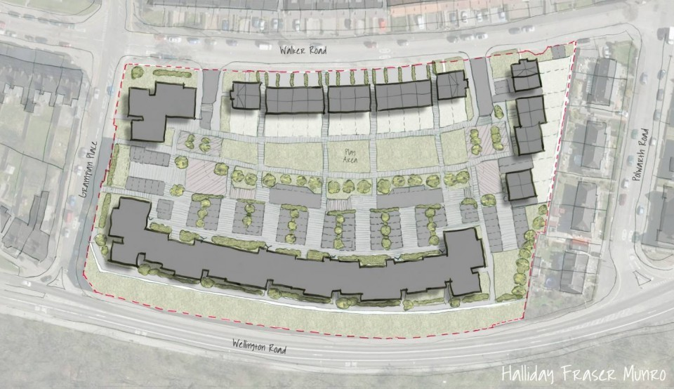 Sketch of the planned development at Craiginches prison in Aberdeen.