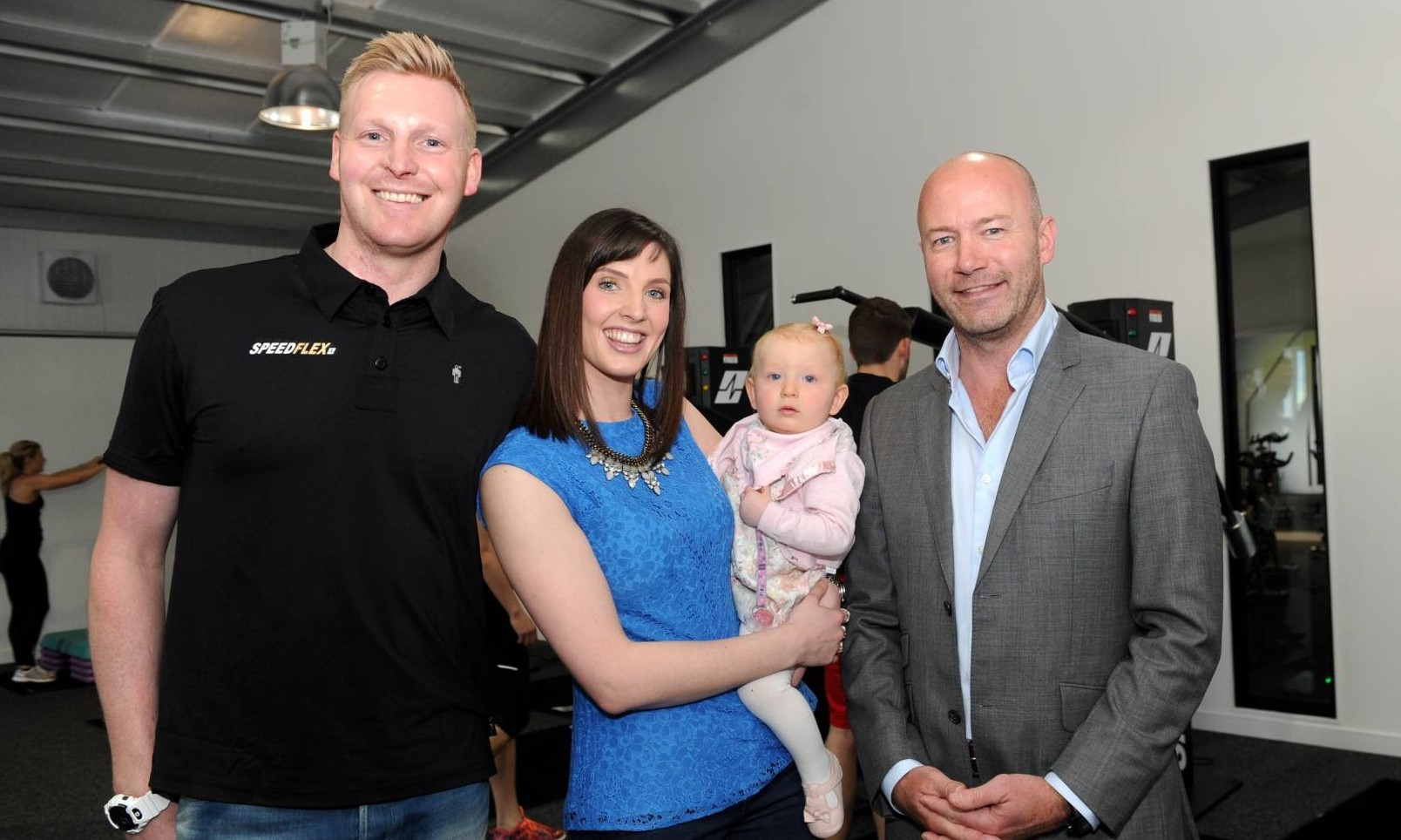 Alan Shearer opened the new Speedflex  Aberdeen gym in Laurencekirk today and is pictured with gym owners Gary and Sally Fairweather with their daughter Peyton.