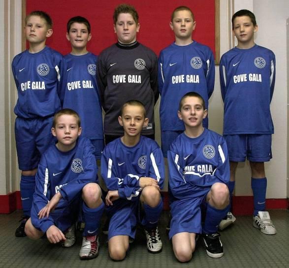 2003: Loirston Primary Team indoor football team. Back left to right - Greg Walker, Neil Penny, Darren Andrew, Chris Gibb, Kieran Adams. Front left to right - Grant Hayes, Scott Anderson, Graham Shinnie.