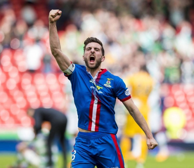2015: Inverness CT captain Graeme Shinnie celebrates at full-time in the Scottish Cup semi-final against Celtic.