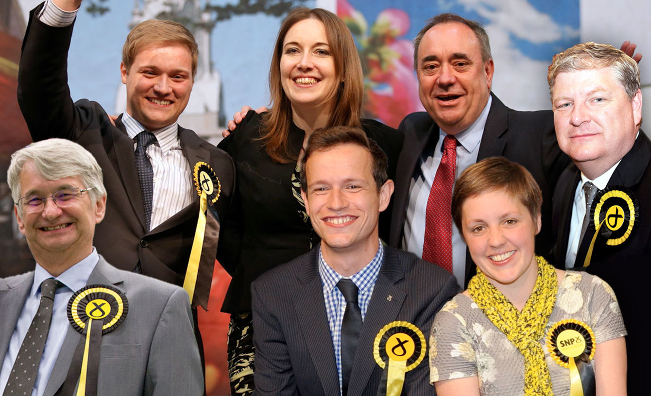 Back row, from left, Stuart Donaldson, Elidih Whiteford, Alex Salmond, Angus Robertson. Front Row, from left, Mike Weir, Callum McCaig, Kirsty Blackman.