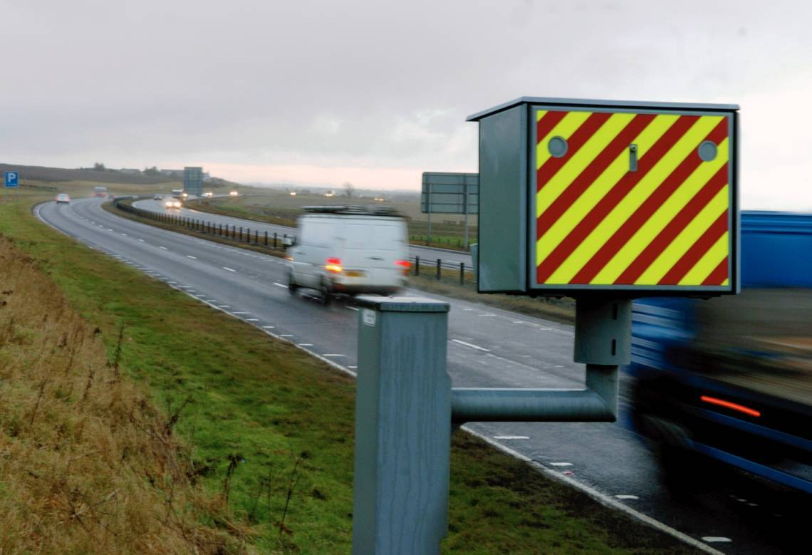 A speed camera was set on fire on the A90 today.