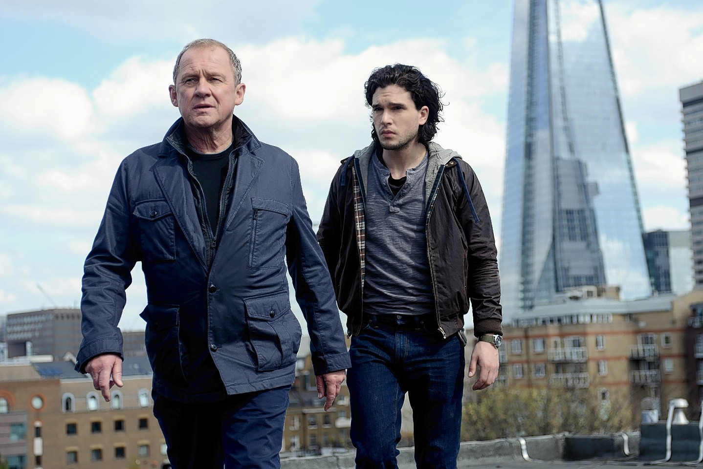 A still from new movie Spooks: The Greater Good with Peter Firth, left, as Sir Harry Pearce, and Kit Harington, as Will Crombie.