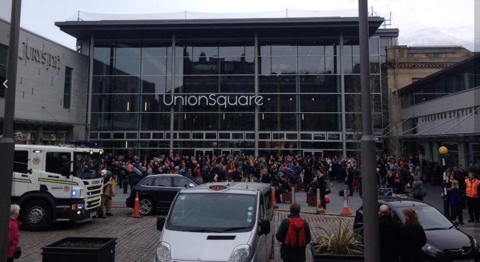 Passengers congregate outside Aberdeen Railway Station after this evening's fire. Picture by @foodiequine