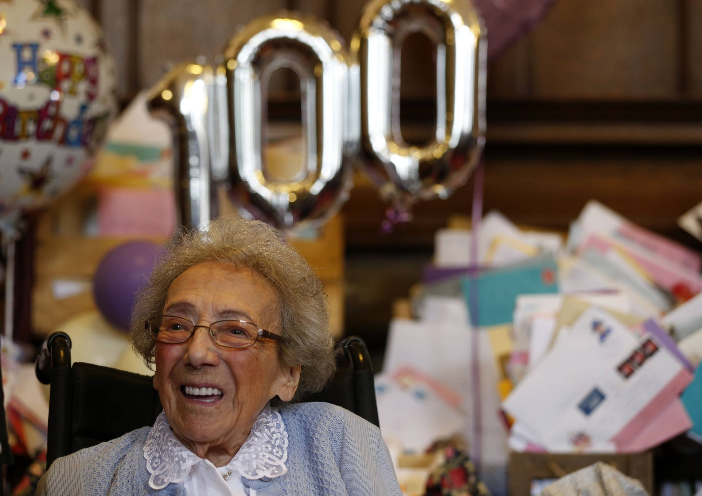 Winnie Blagden, who will become a centenarian at the end of the month, during a surprise party at Sheffield Town Hall