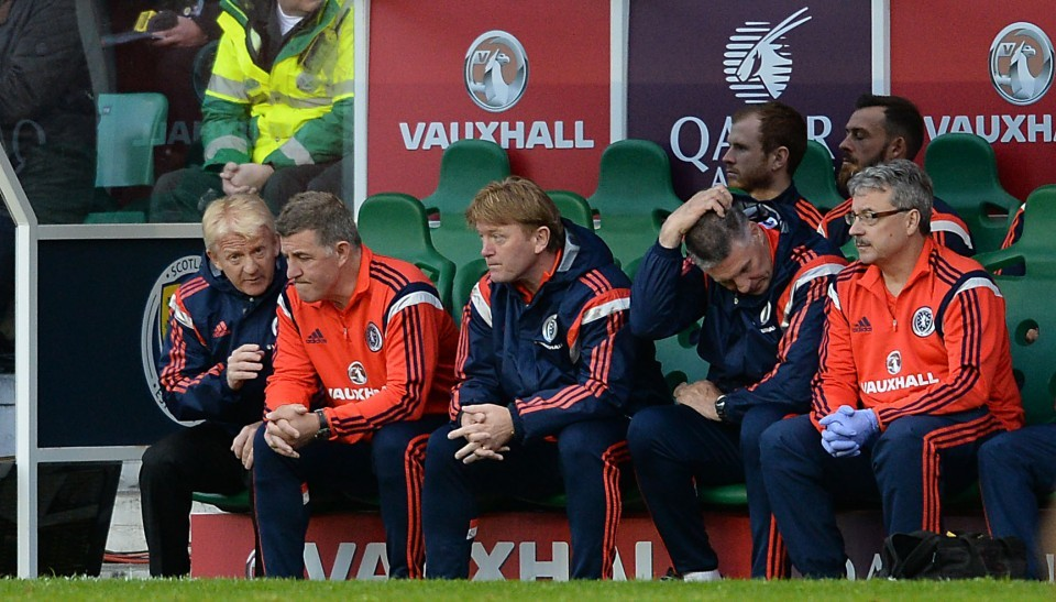 Scotland manager Gordon Strachan (left) talks tactics on the bench