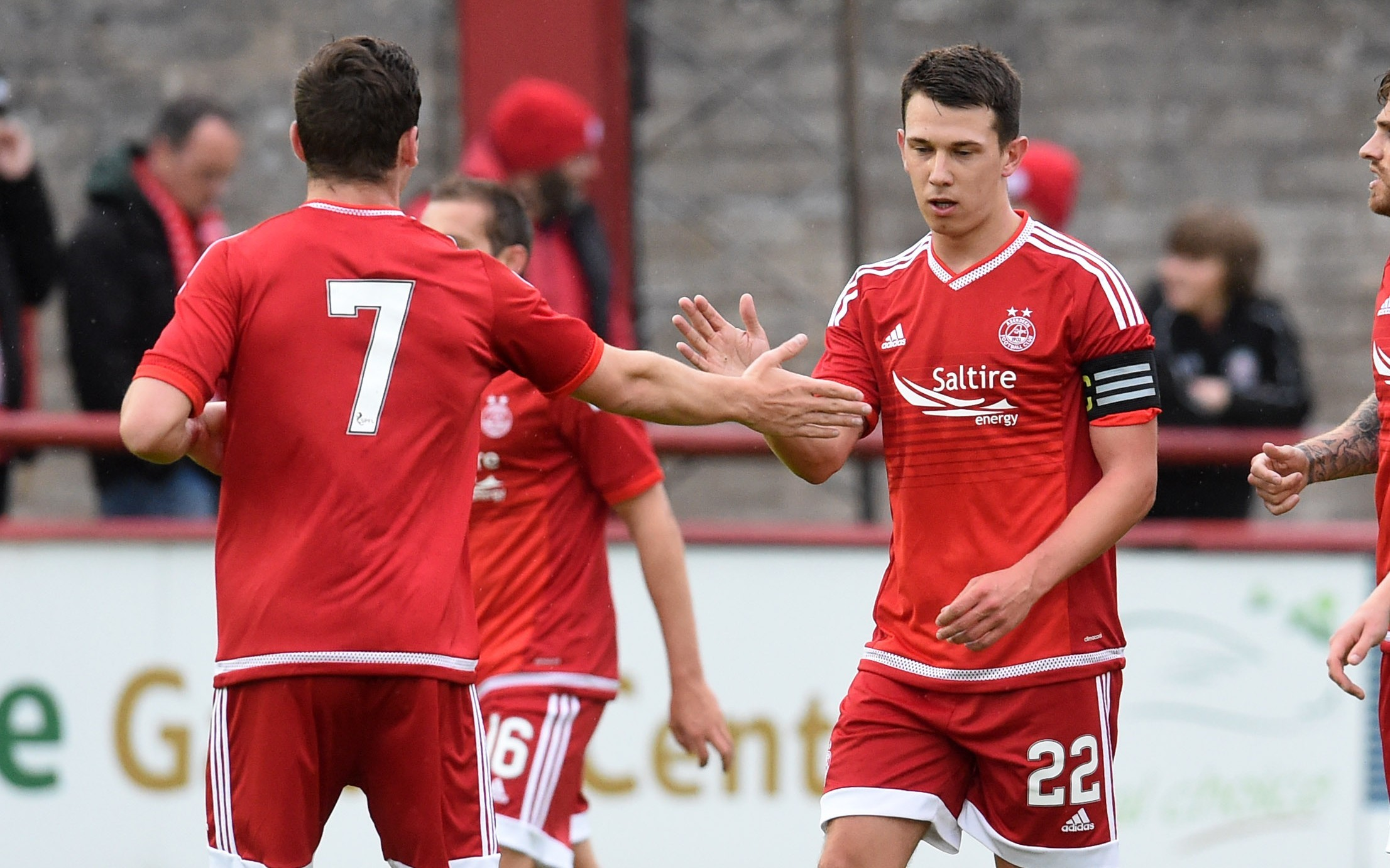 Aberdeen's Ryan Jack (right) celebrates his goal with team-mate Kenny McLean