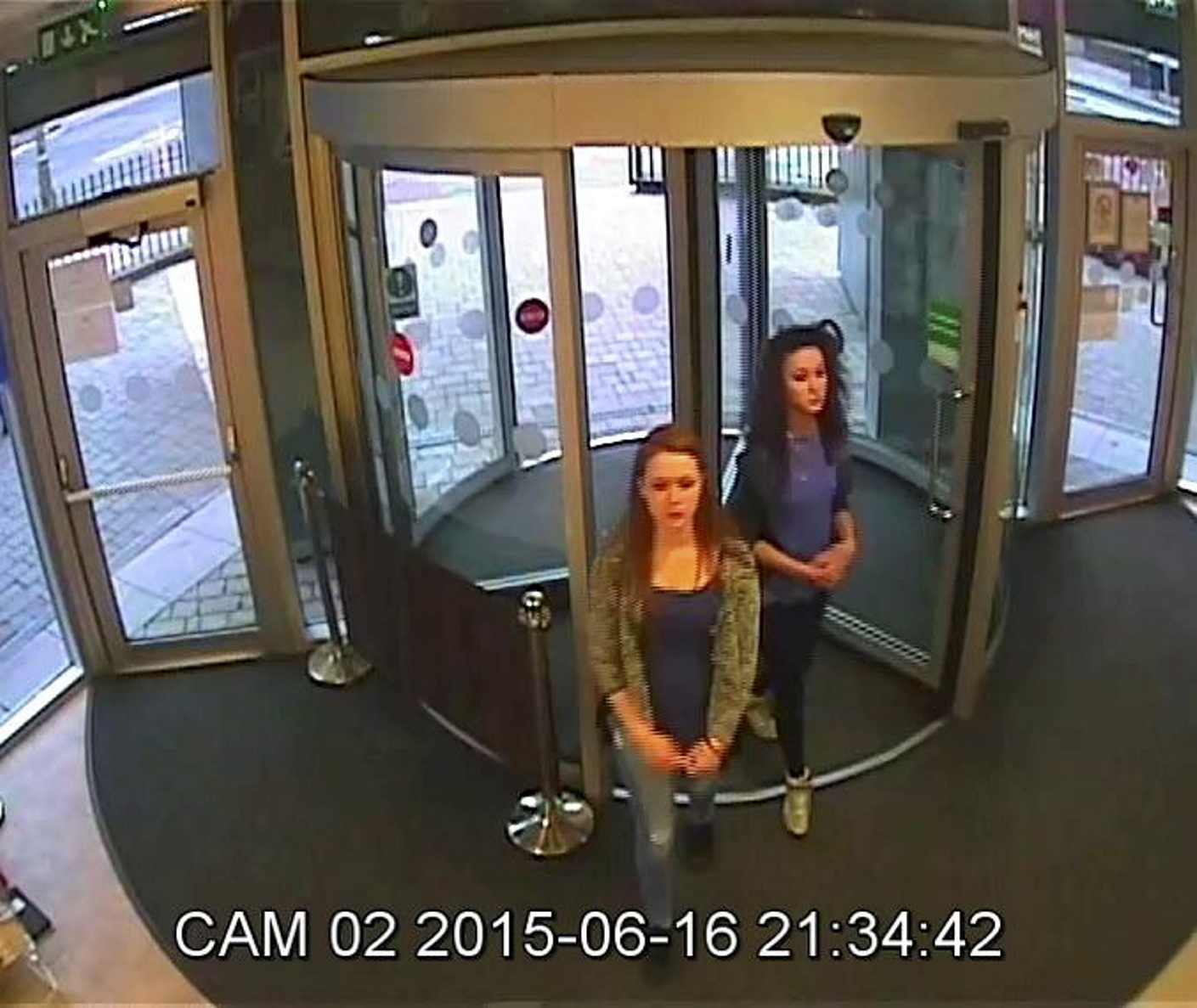 CCTV still from a hostel in Edinburgh shows Lilly and Nicole last night.