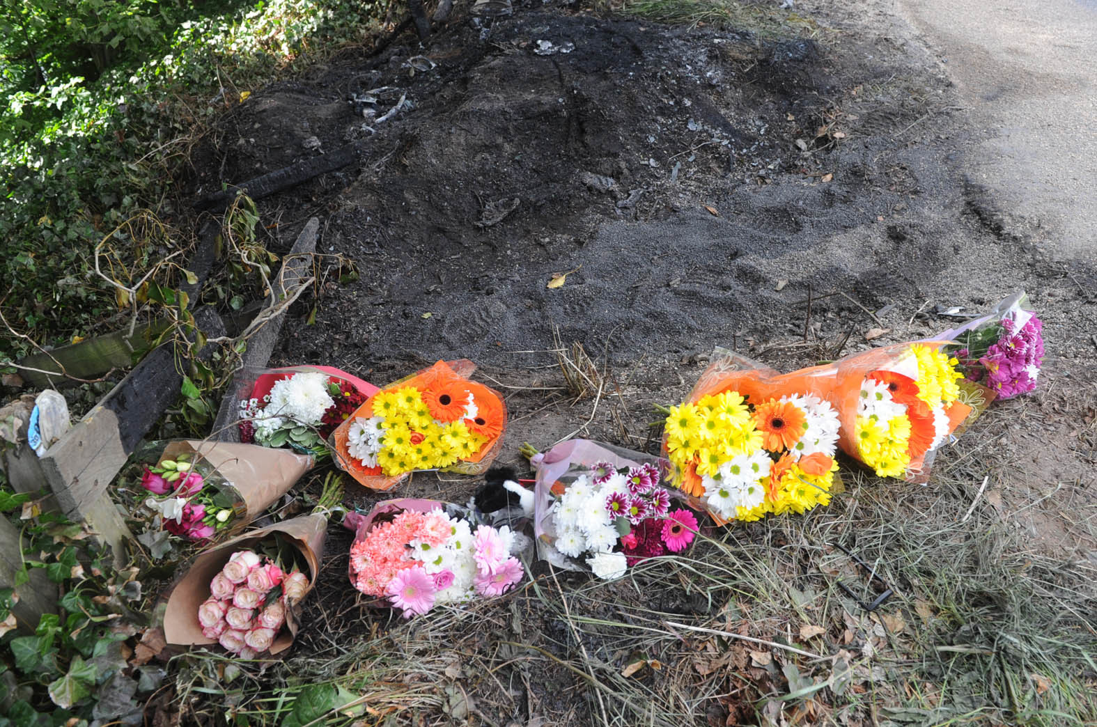 TRIBUTES: Flowers at the scene of the crash.