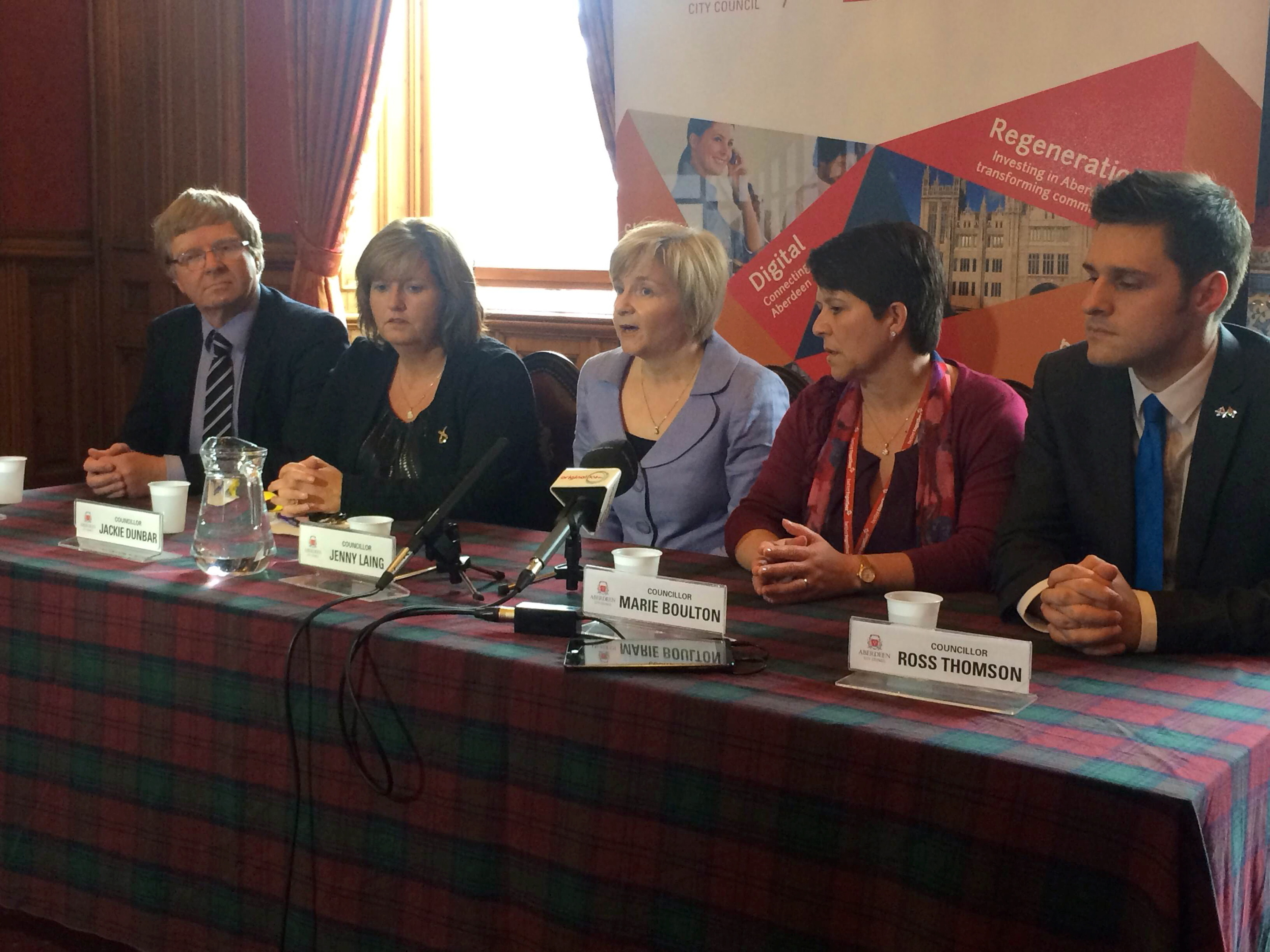 DECISION:  Councillors Ian Yuill, Jackie Dunbar, Jenny Laing, Marie Boulton and Ross Thomson at the press conference following the approval of the Aberdeen city Masterplan.