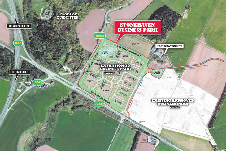 A map showing the planned layout for the expansion to the Stonehaven Business Park.