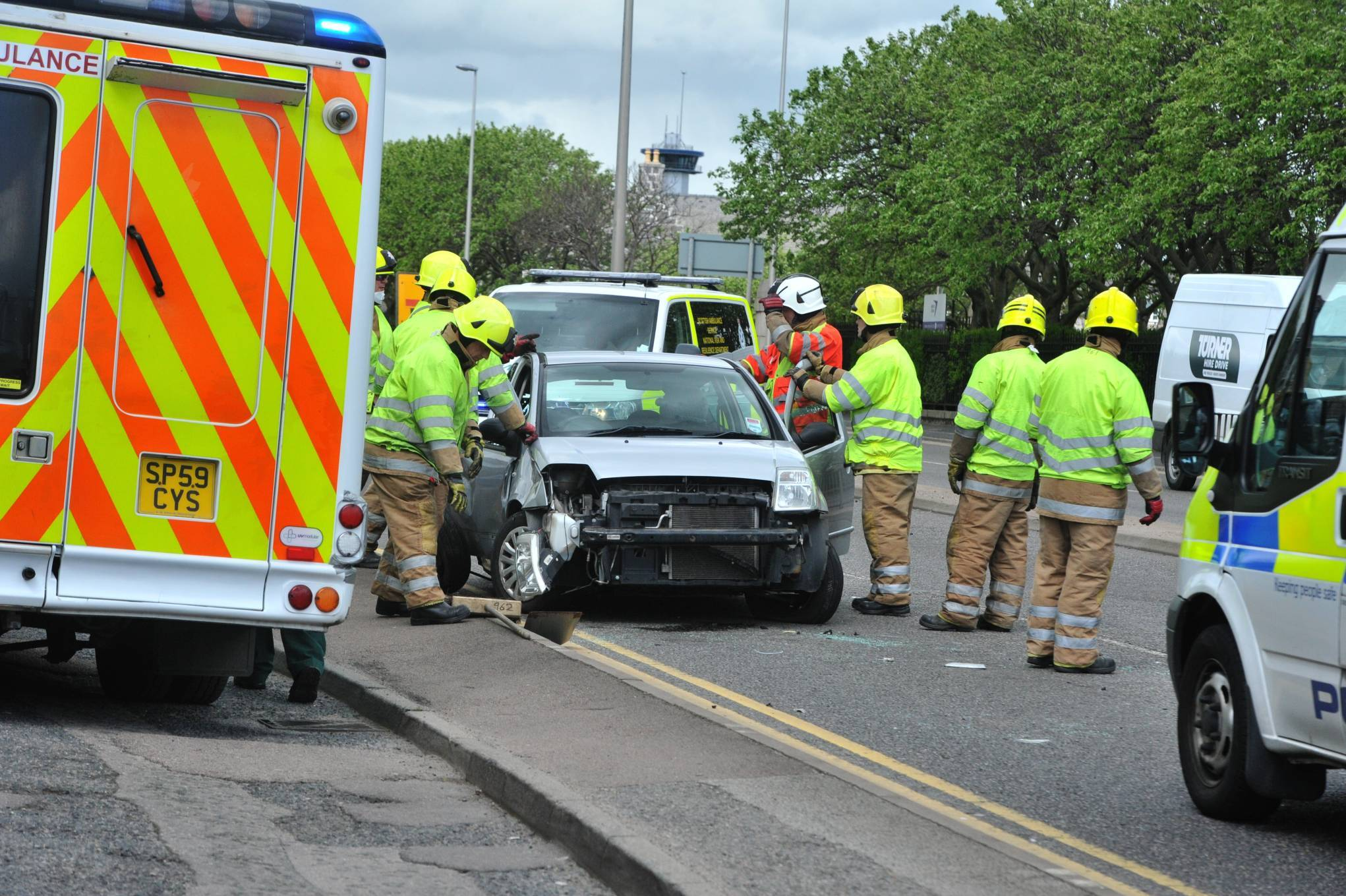 Emergency crews at the scene of this afternoon's crash on the Ellon Road.