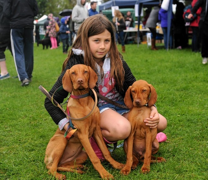 Annabel Hutcheon, 8, with Lola and Carter.