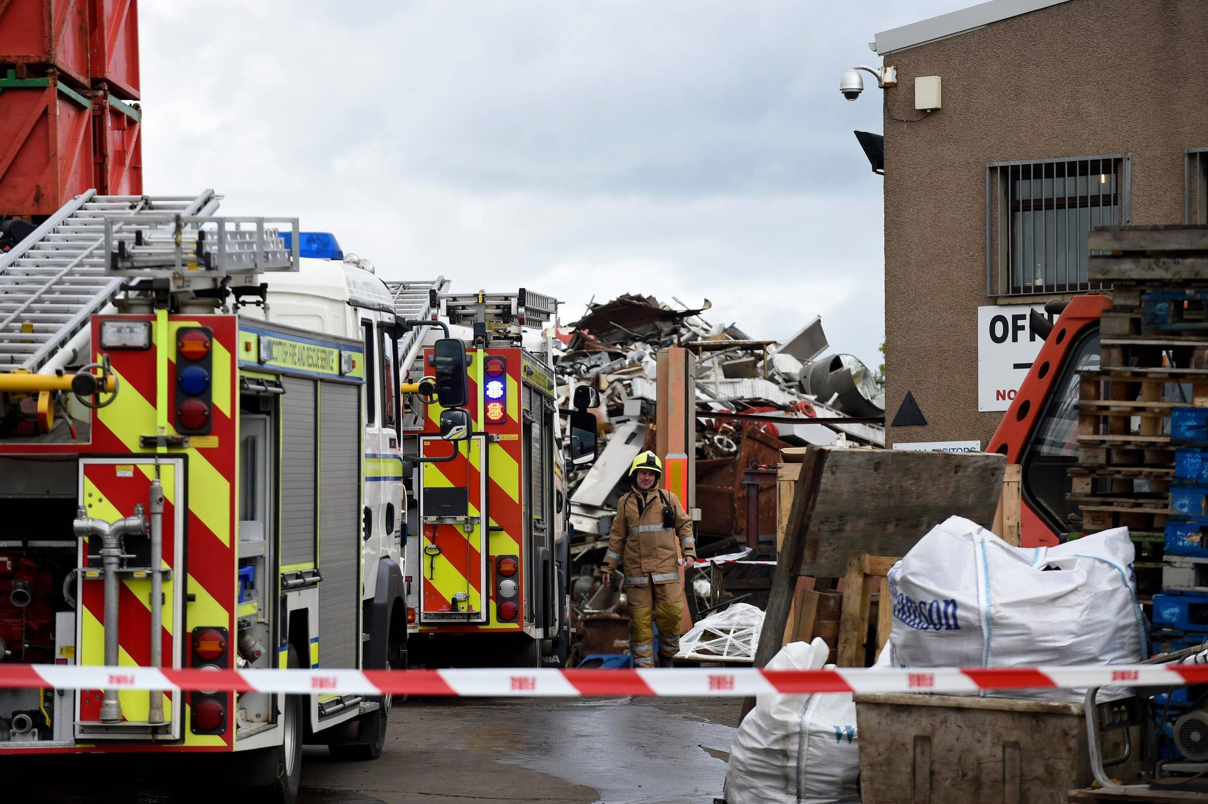 Firefighters at the scene of the fire in Peterhead.