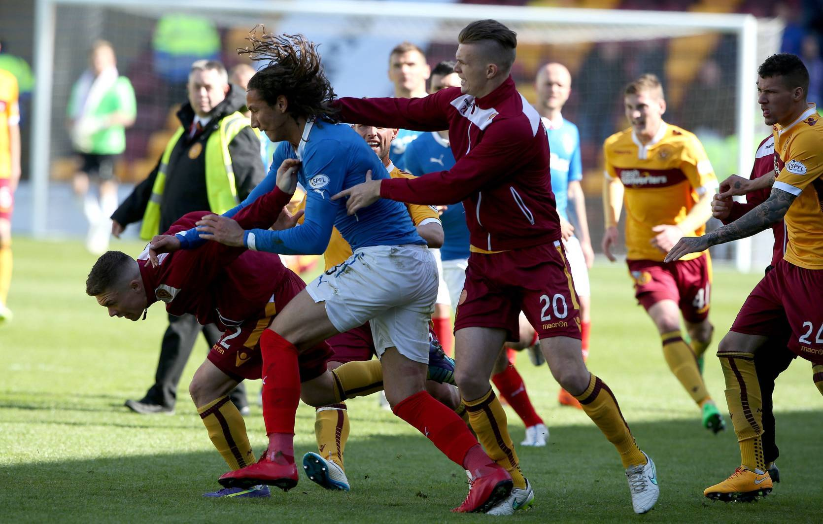 Rangers player Bilel Mohsni reacts during an incident.