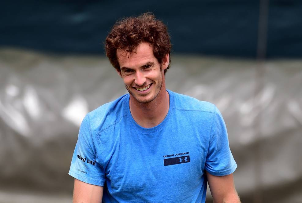 Andy Murray during practice on day one of the Wimbledon Championships