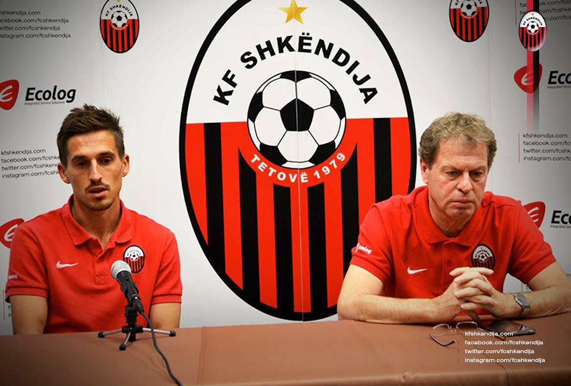 KF Shkendija midfielder Armend Alimi, left, and manager Shpetim Duro. Picture from KF Shkendija's official Facebook page.