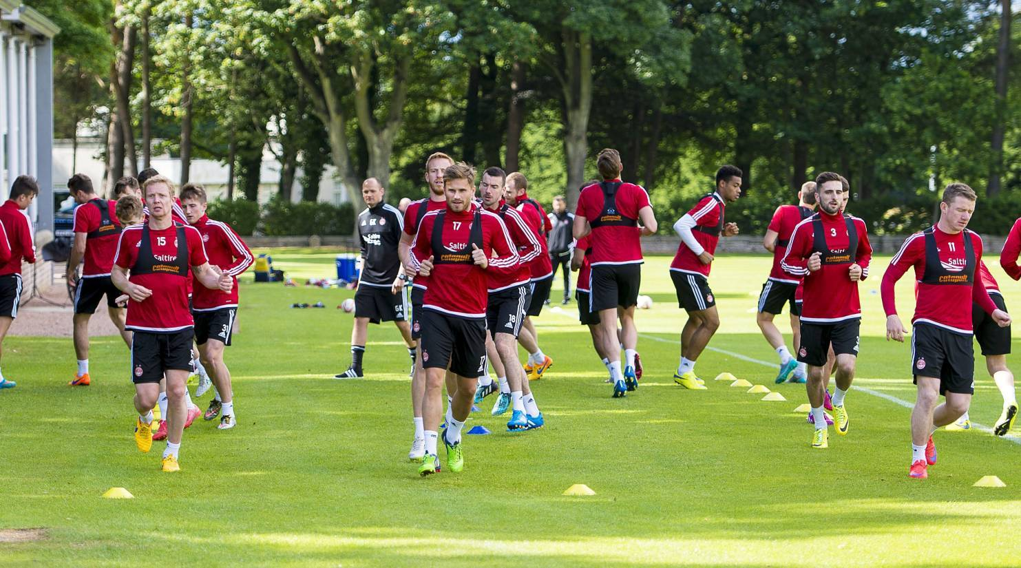 The Aberdeen players are put through their paces at St Andrews.