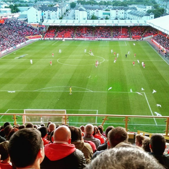 Seagulls over Pittodrie on Thursday. Picture by Reader David Robertson.