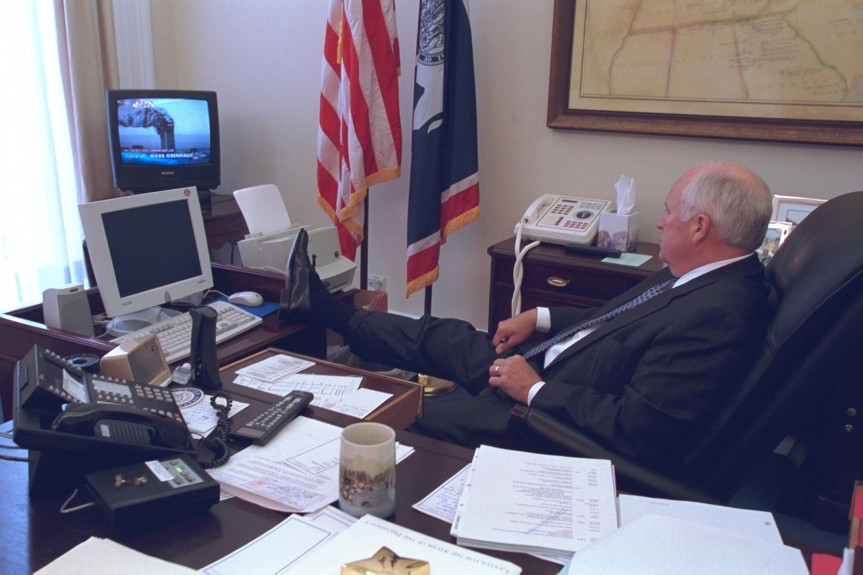 Vice President Dick Cheney in his office watching news coverage of the attacks in New York.