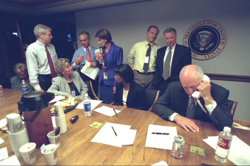 Senior members of White Staff in the briefing room following the attacks.