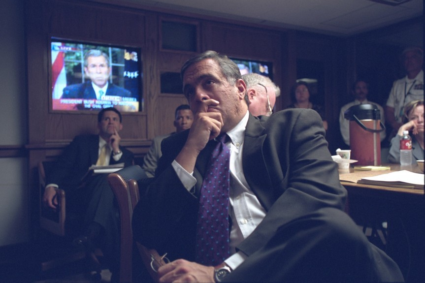 CIA Director George Tenet listens to President Bush's address in the President's Emergency Operations Center.