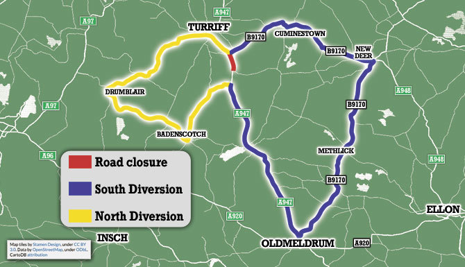 This illustration shows the routes of diversions north and southbound when the section of the A947 is shut.