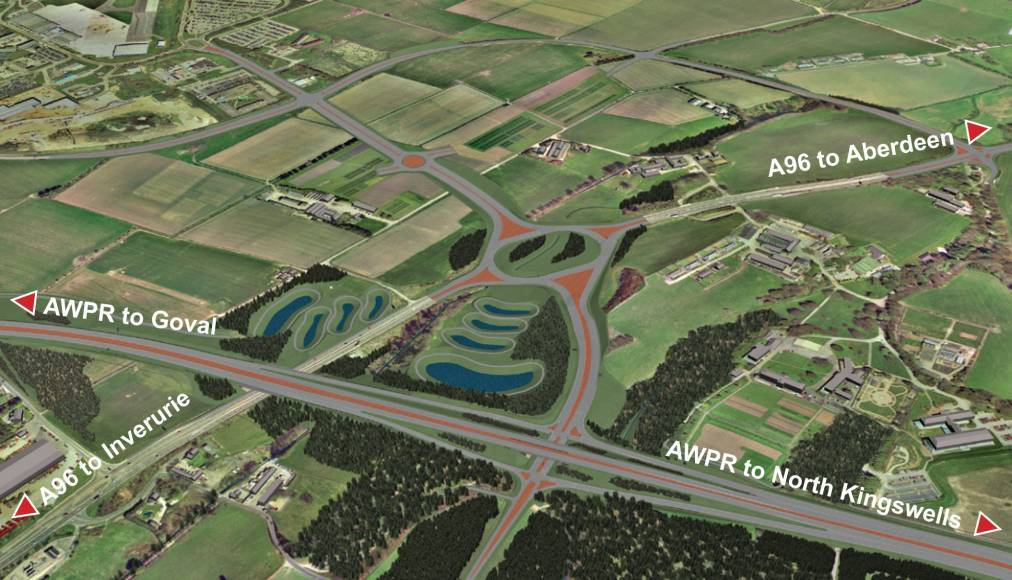 An artist impression of the planned junction near Dyce.