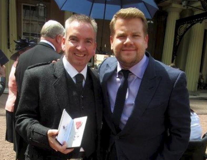 Stuart Devine with James Corden