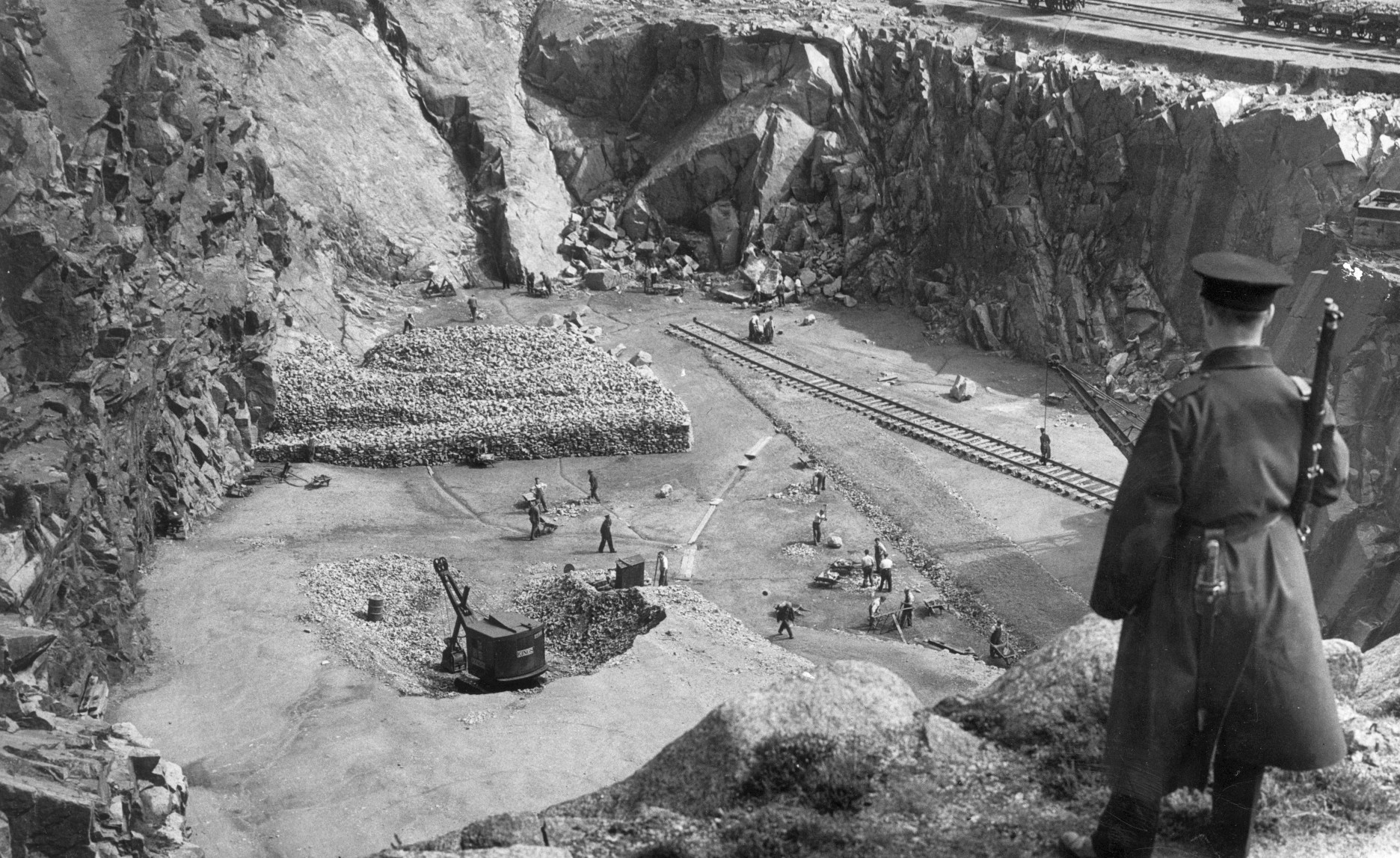 Prisoners from Peterhead Prison at work in Stirling Hill Quarry.