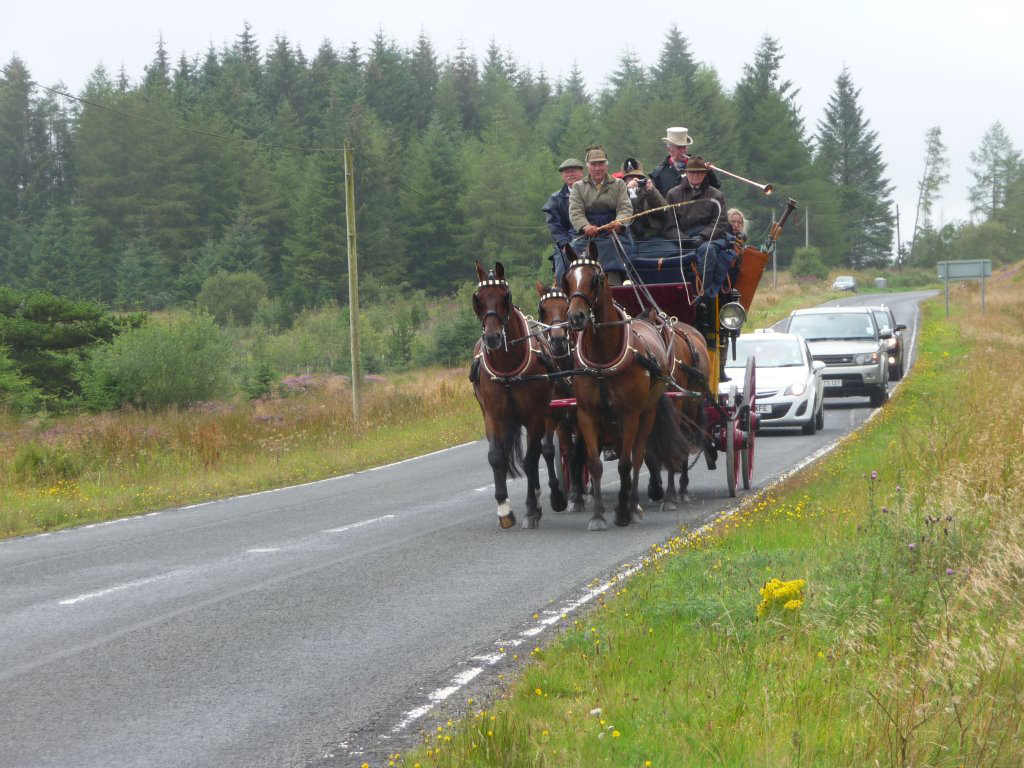 The coach will leave from the Invercauld Arms hotel in Braemar and finish at Duthie Park. Inset, a horse and cart on the road to Finzean.