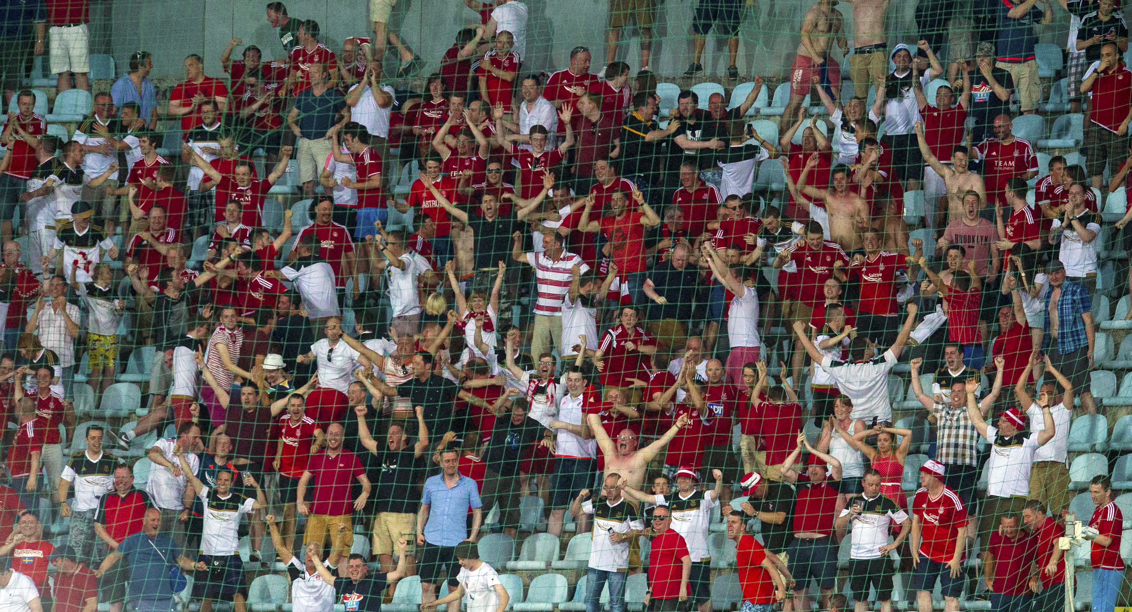 Dons fans at the game in Croatia.