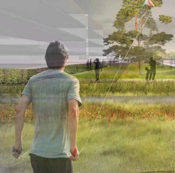 Artist impression of the Loch of Loirston site looking north into the Gateway Park.