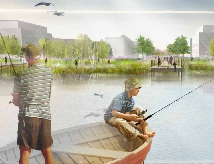 Artist impression of the Loch of Loirston site showing  the loch.