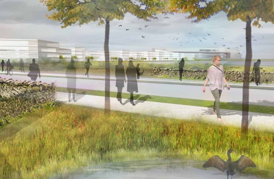 Artist impression of the Loch of Loirston site with the proposed new stadium in the background.