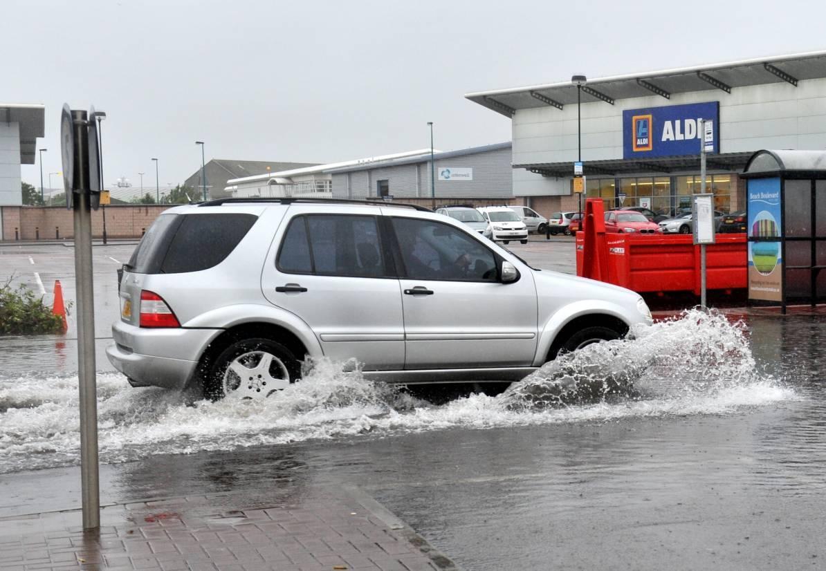 Flooding at the Beach Boulevard Asda car park, Aberdeen