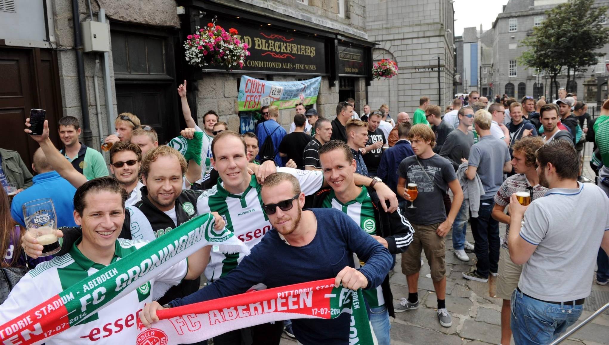 FC Groningen fans at the Castlegate in Aberdeen last year.