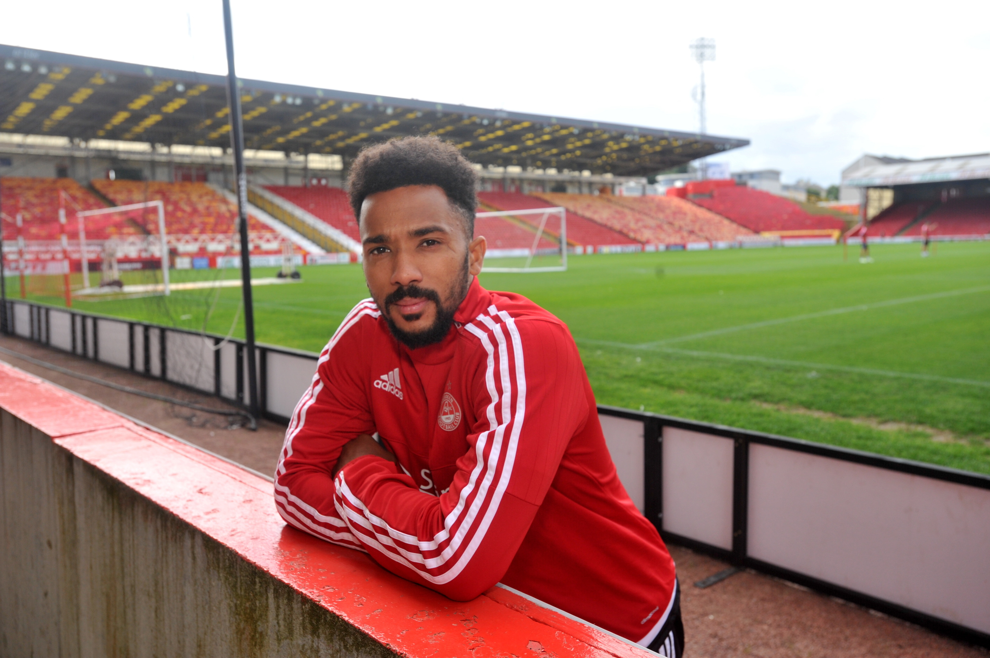 calm before the storm:  Shaleum Logan at Pittodrie ahead of the big match.