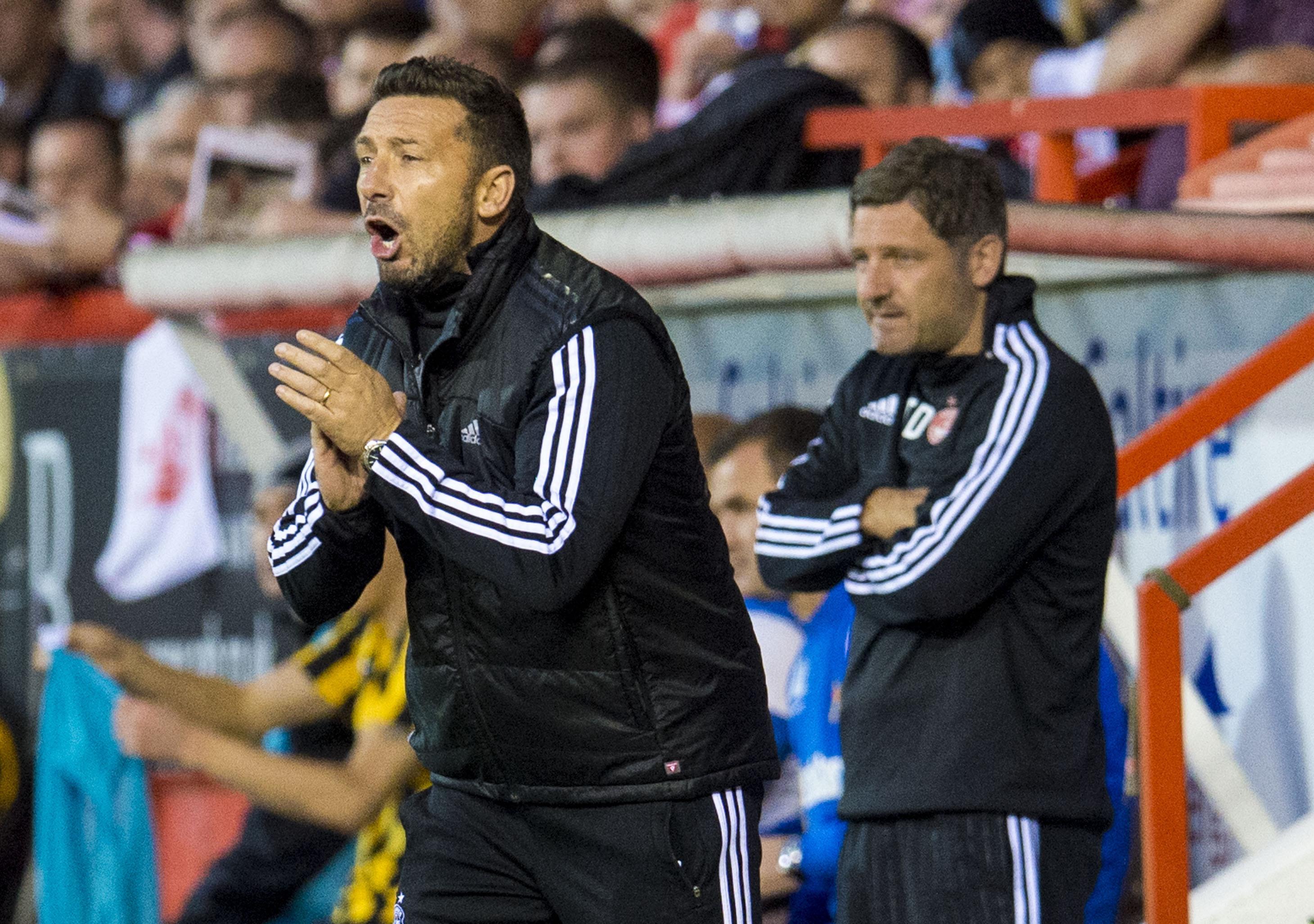 Dons boss Derek McInnes roars on his team at Pittodrie.
