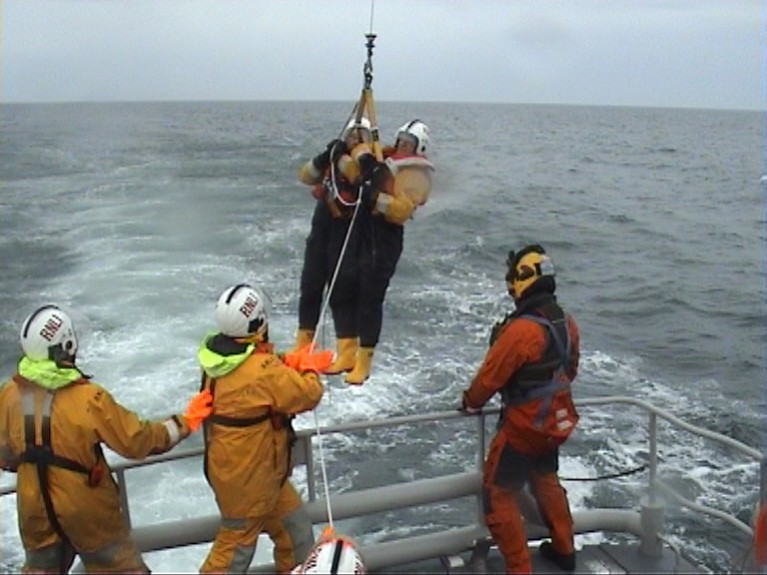 The RNLI lifeboat crew carry  out an exercise in July 2010