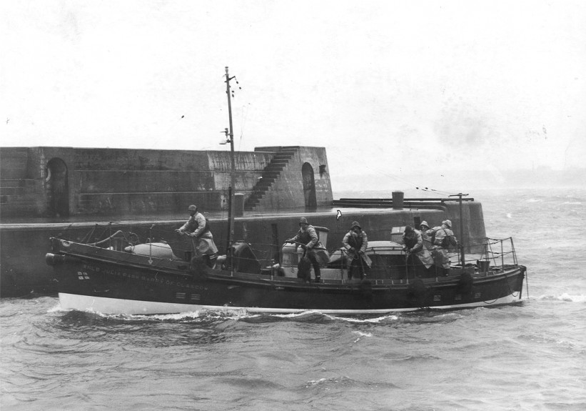 The Peterhead lifeboat returns after another successful mercy mission in September 1965.