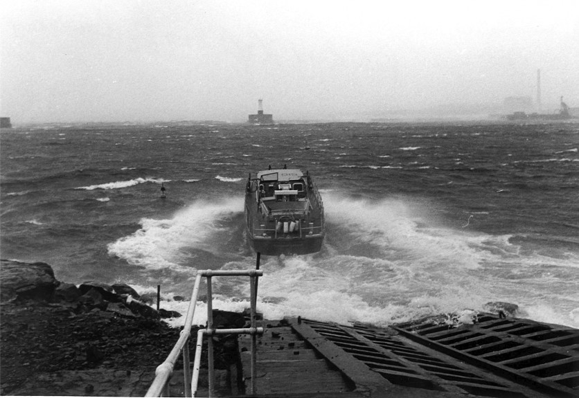 Peterhead Lifeboat is launched in January 1988.