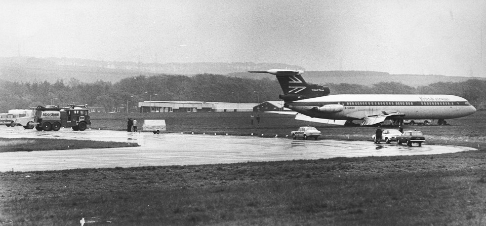The Trident ended up off the runway after aquaplaning in wet weather at the city airport in 1978.