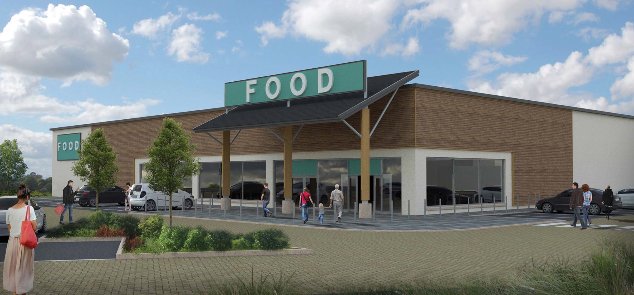 An artist's impression of the proposed new supermarket at Mains of Ury in Stonehaven.