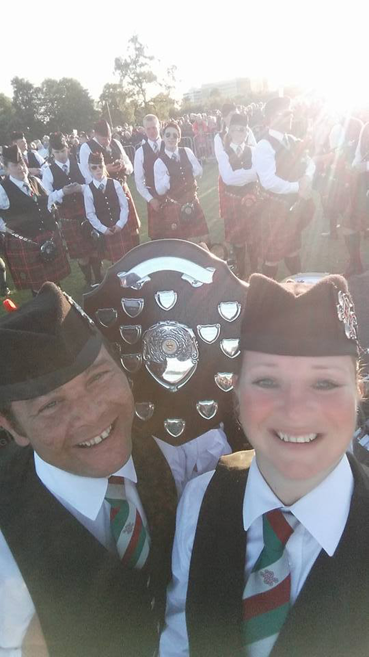 Portlethen and District Pipe Band celebrating at the event.
