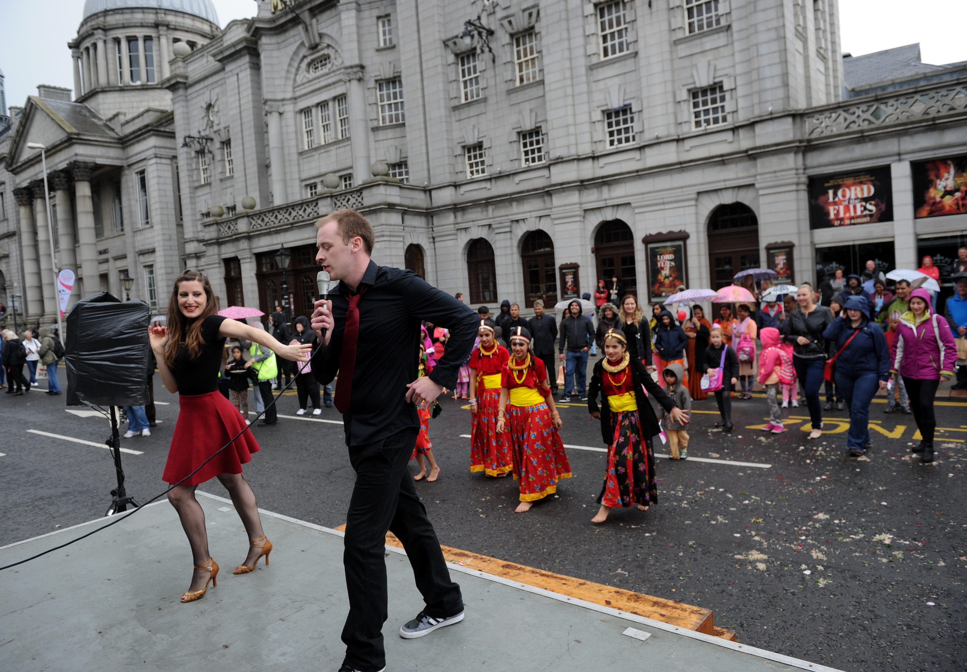 Groups taking part in Celebrate Aberdeen last year  show off some fancy footwork outside His Majesty's Theatre.